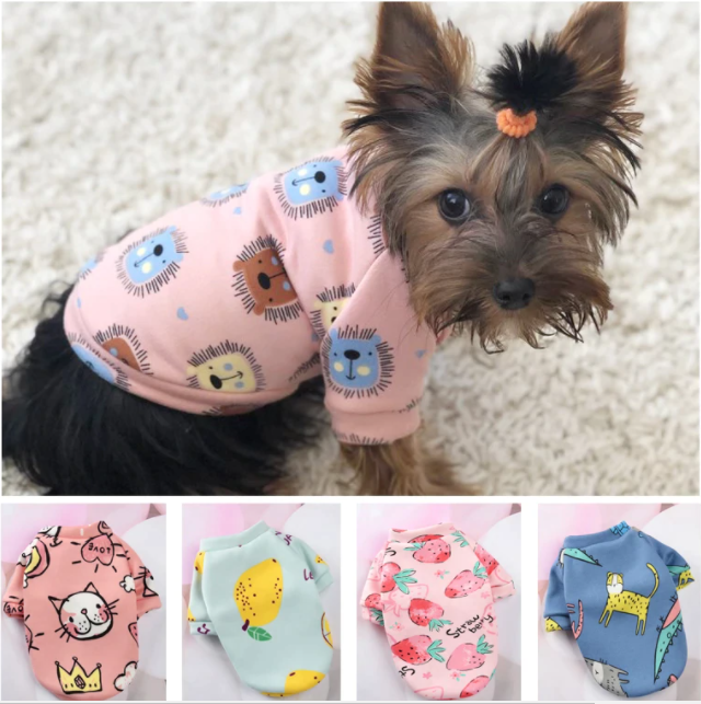 Cute Print Small Dog Hoodie Coat