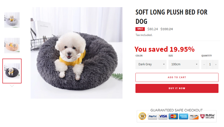 SOFT LONG PLUSH BED FOR DOG